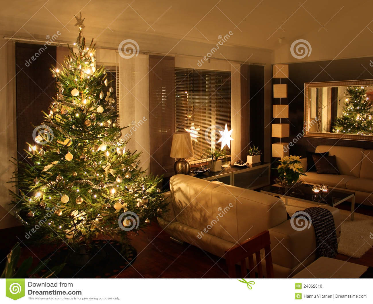 Christmas Tree In Living Room christmas tree in living room stock photo - image: 61334757