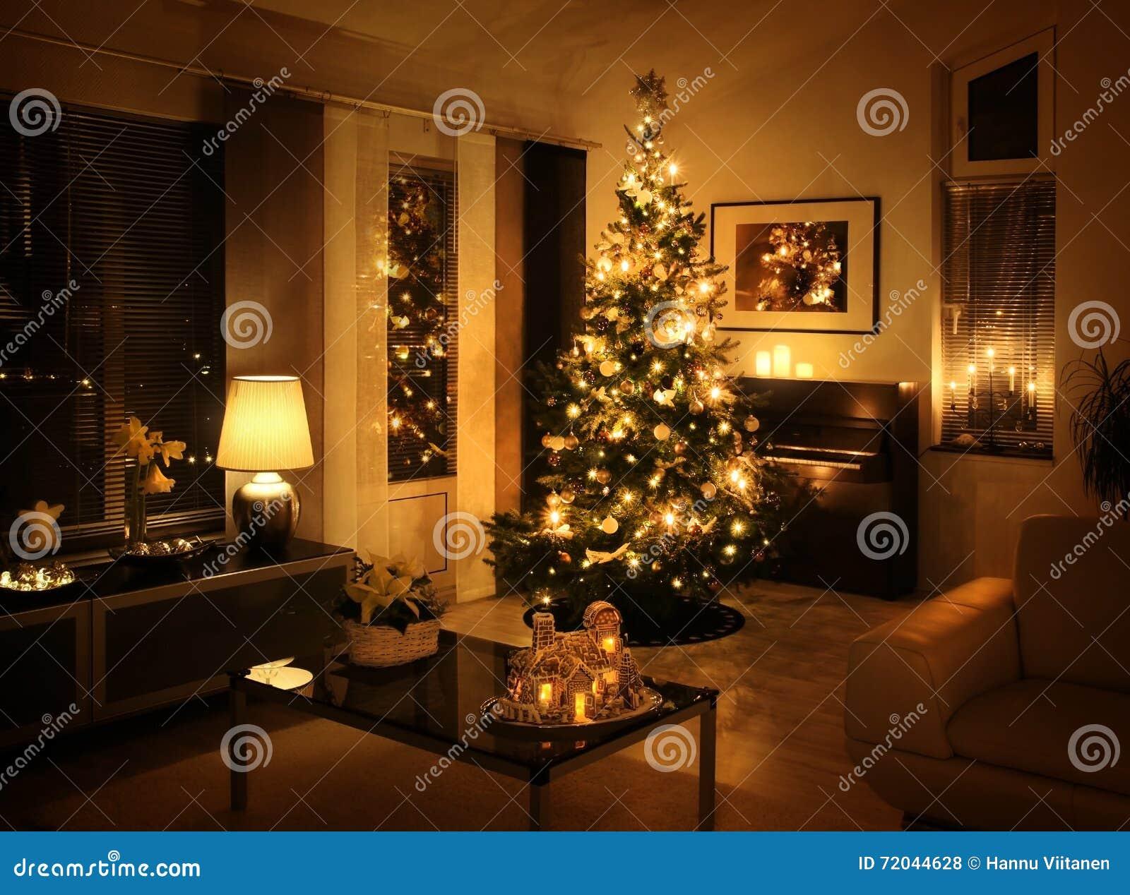 Christmas tree in modern living room stock photo image - Christmas tree in living room ...