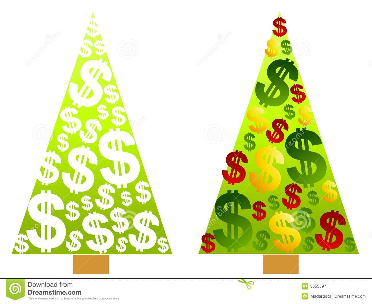 Christmas Tree Money Dollar Signs Royalty Free Stock Photography ...