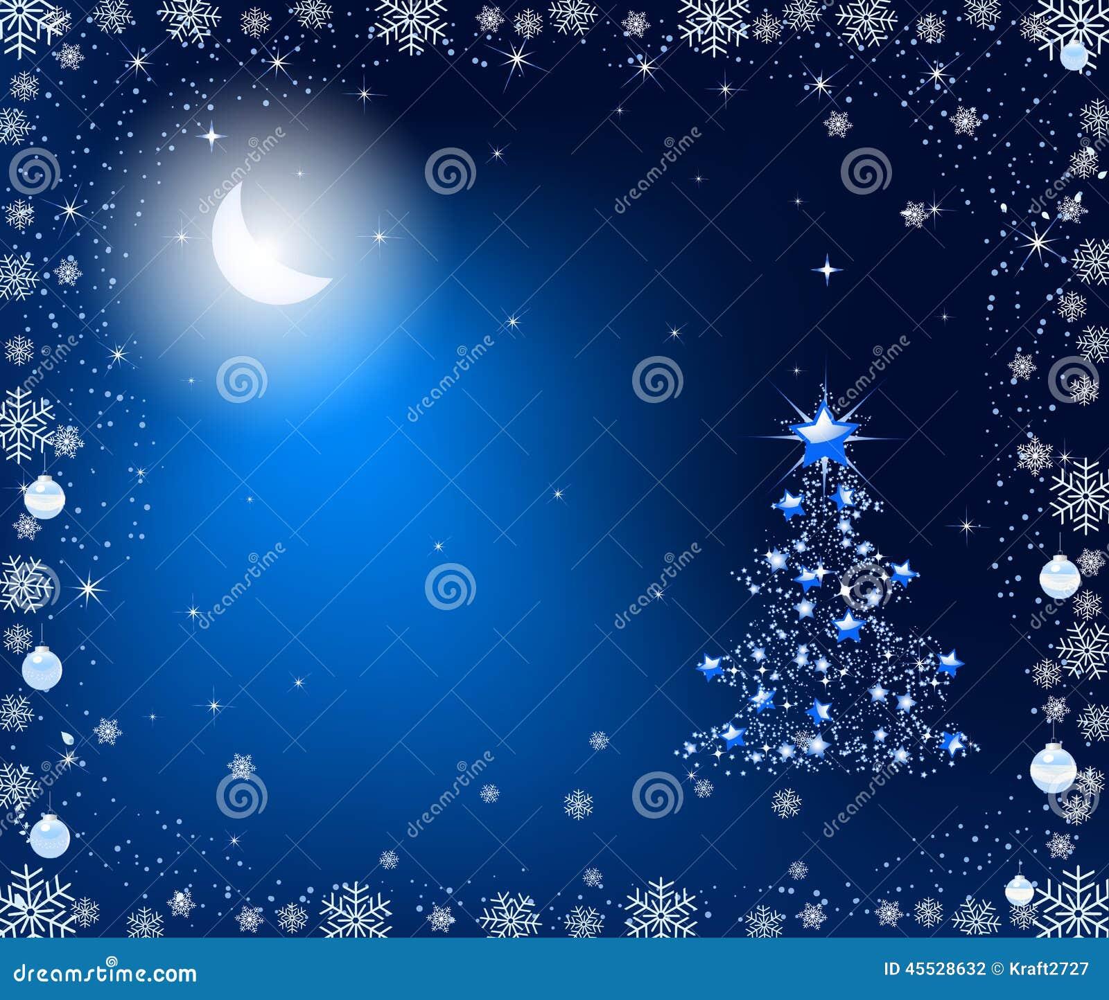 Christmas Tree In The Moonlight Stock Illustration