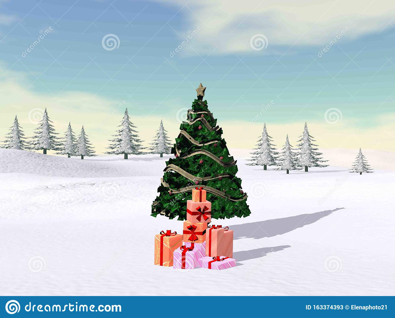 Christmas tree in the mountain - 3D render