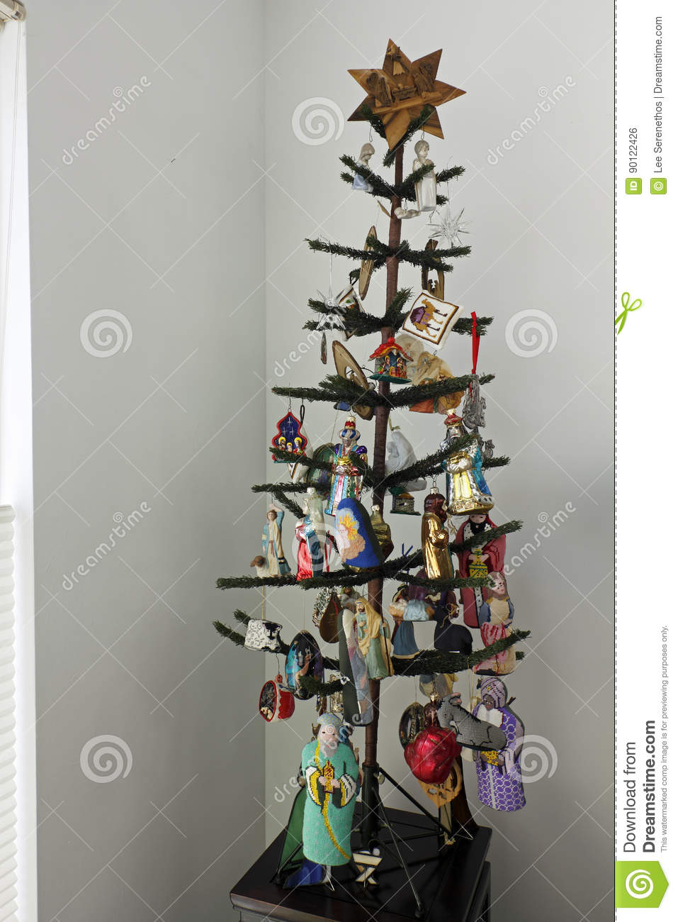 Christmas Tree with Nativity Theme Ornaments