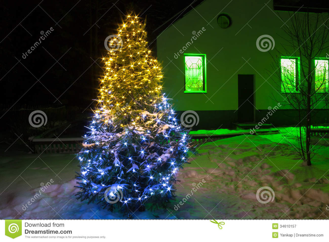 Christmas Tree Night With Lights Royalty Free Stock