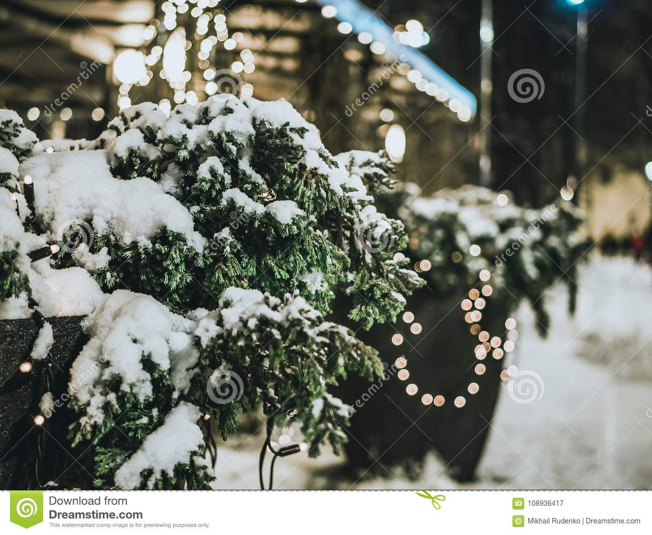 Download Christmas Tree At Night Snowy Weather Stock Image - Image of decorated, color: 108936417