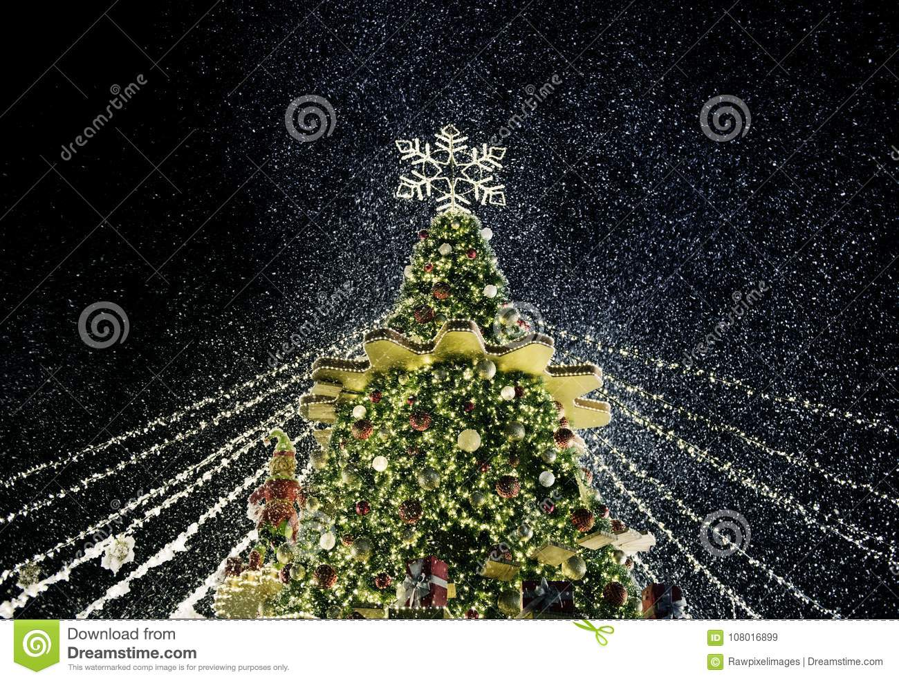 Christmas tree night time with lights decoration