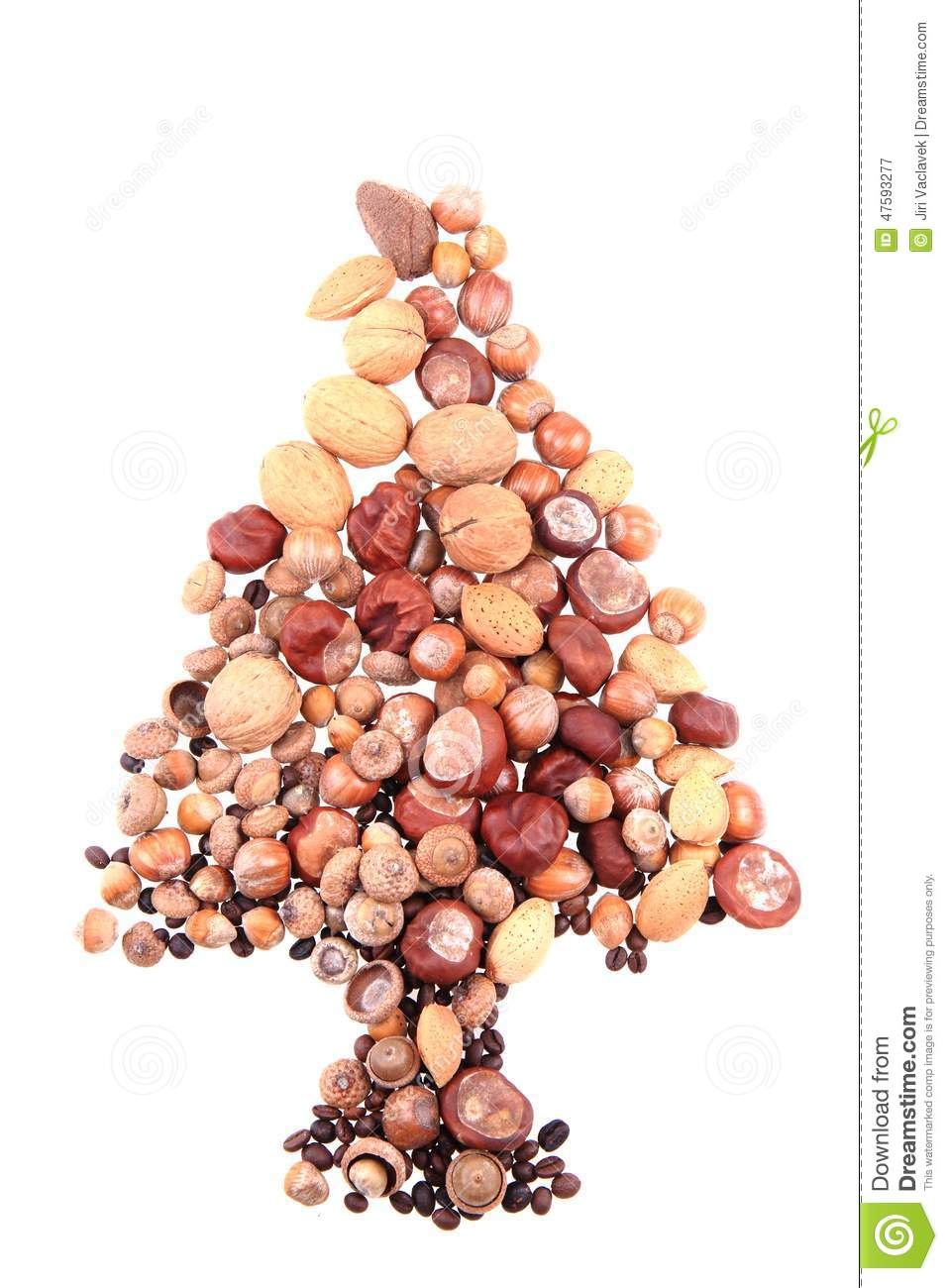 Christmas tree from nuts stock photo image