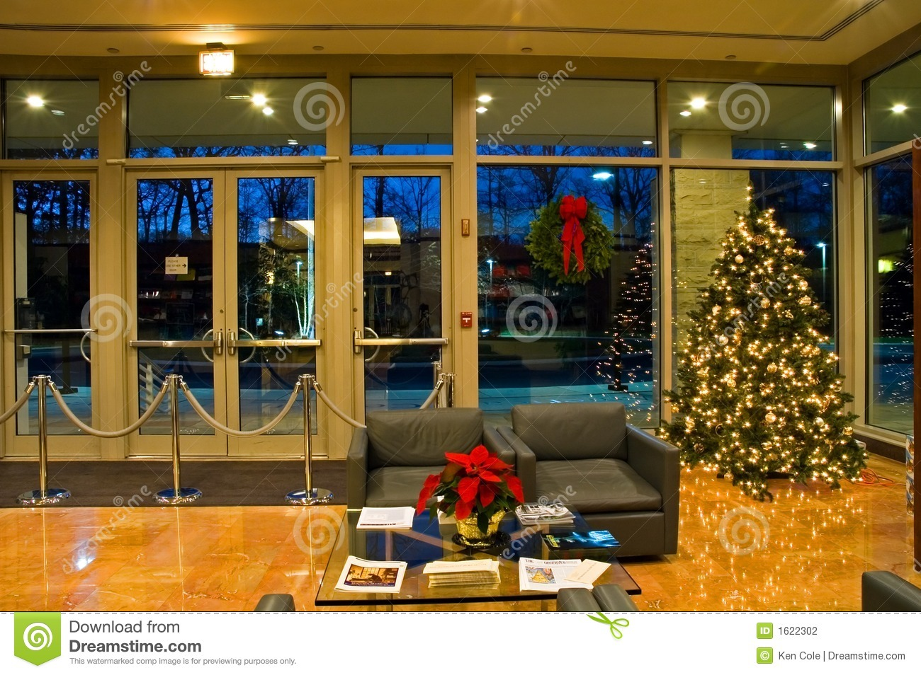 Christmas Tree In Office Lobby Stock Photo Image Of