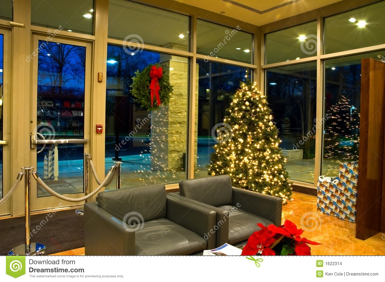 Christmas Tree In Office Lobby 2 Stock Photo Image Of