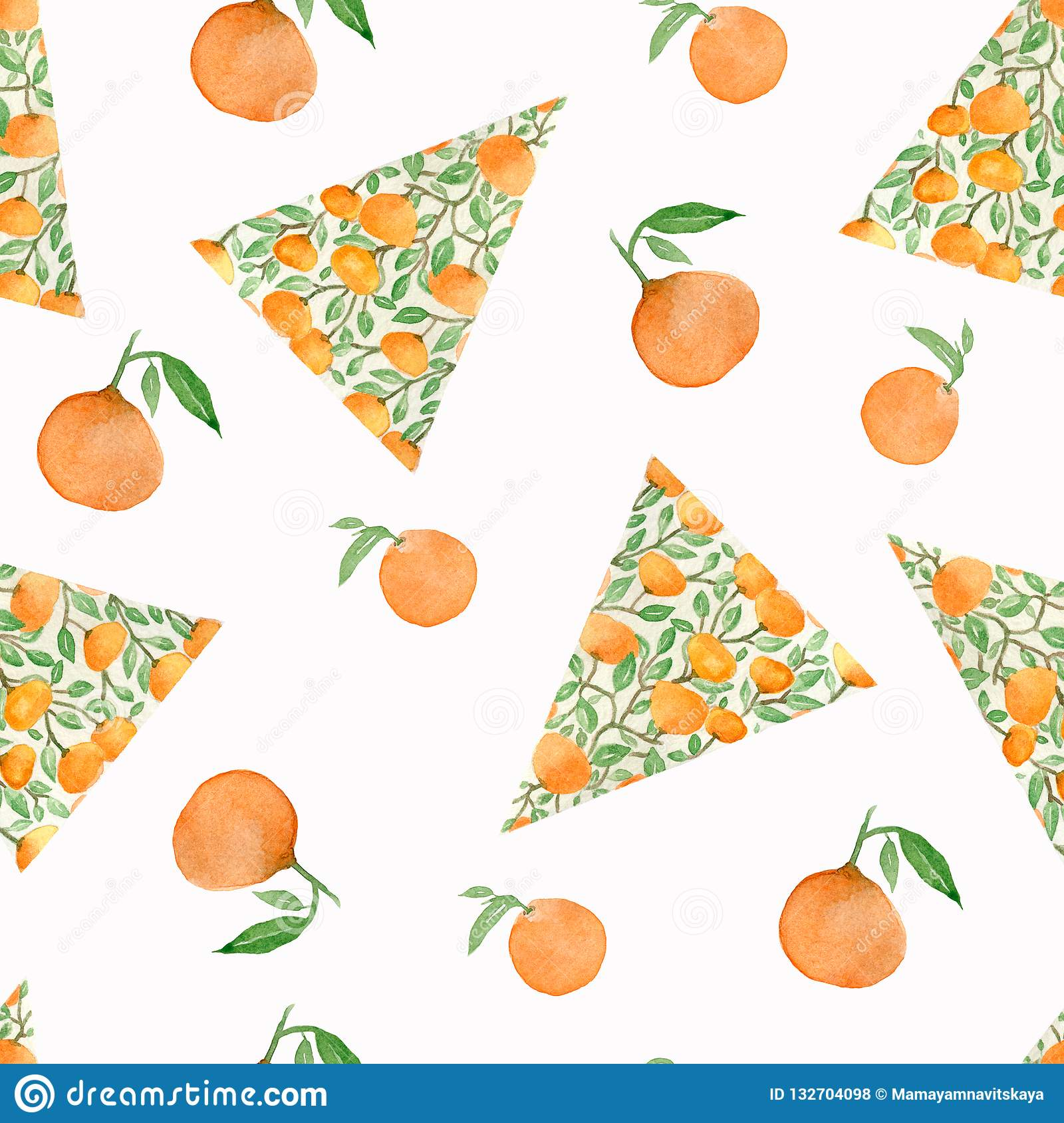 Christmas tree with oranges. Sketch for greeting card, festive poster, party invitations,textile, fabric, wrapping, menu.