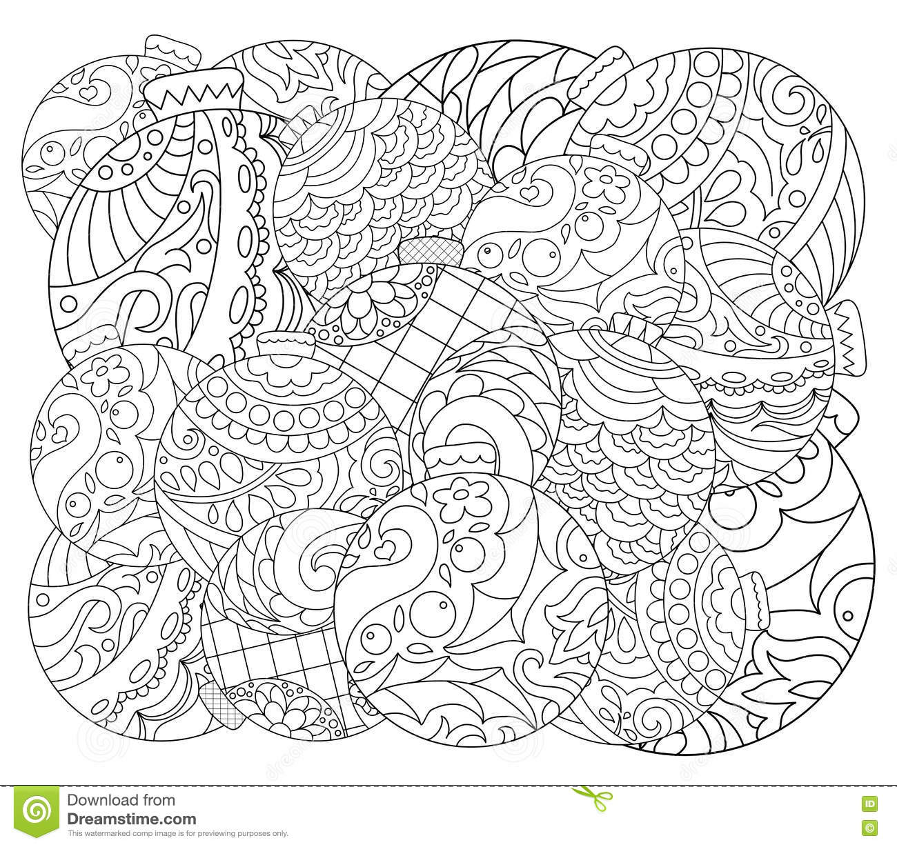 Christmas Tree Ornament Adult Coloring Page Vector With Fir