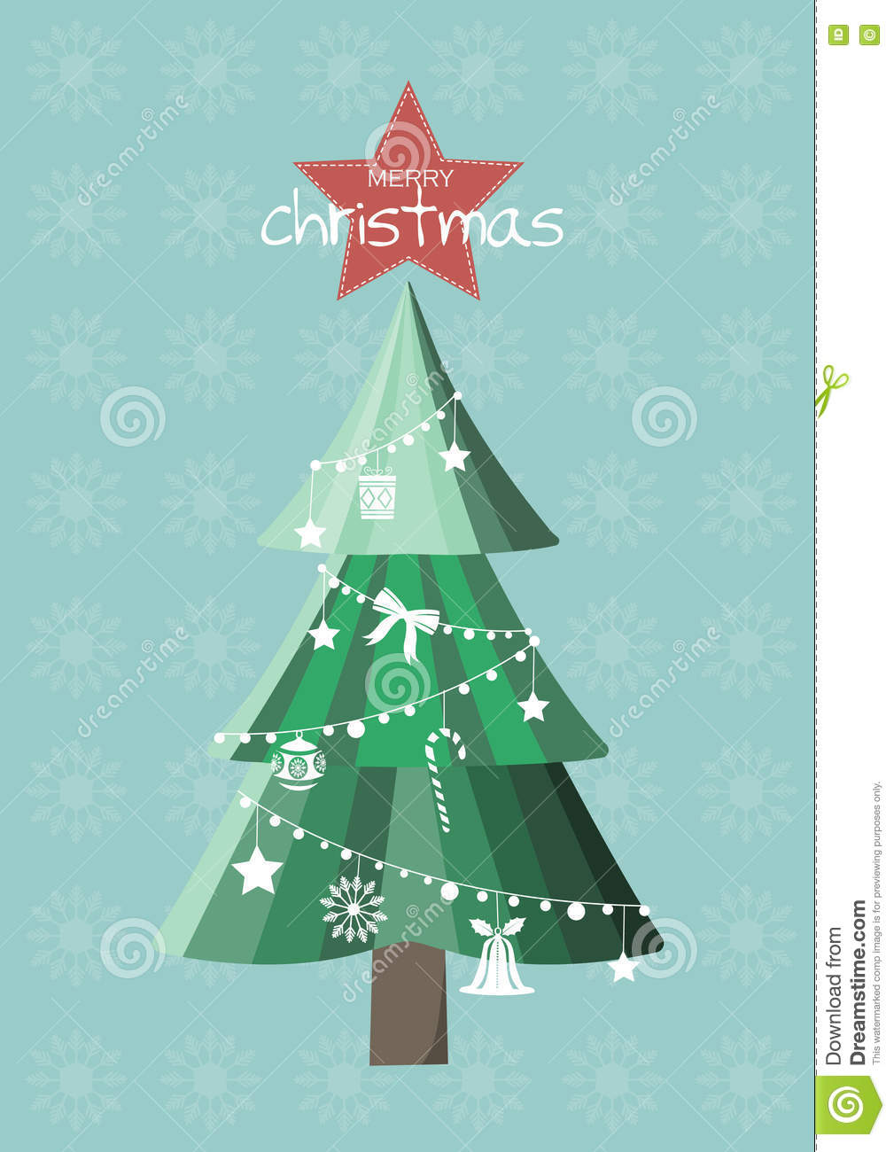Christmas Tree With Ornament,Christmas Cards Stock Illustration ...
