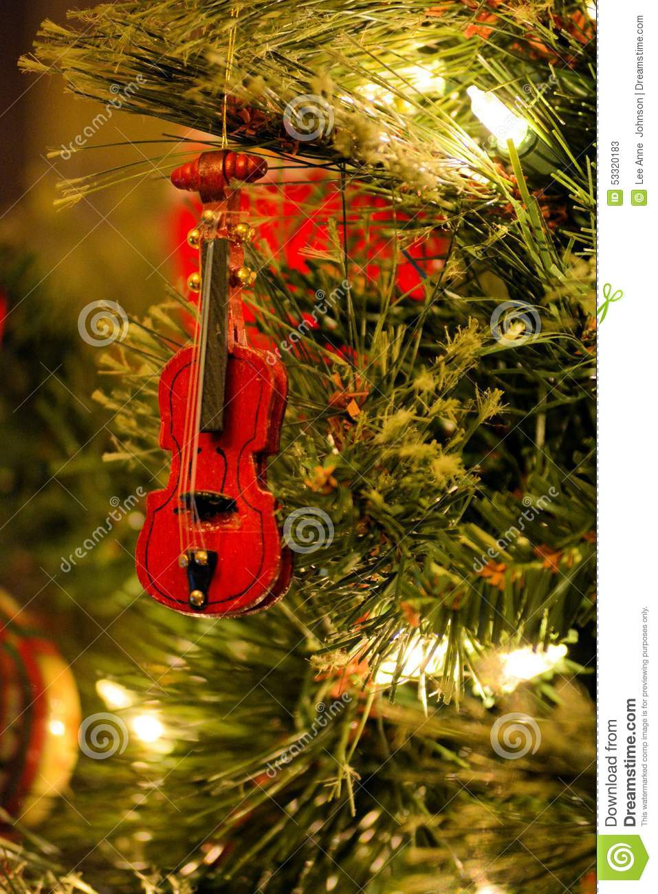 Christmas Tree Ornament Red Violin Fiddle Stock Image - Image of ...