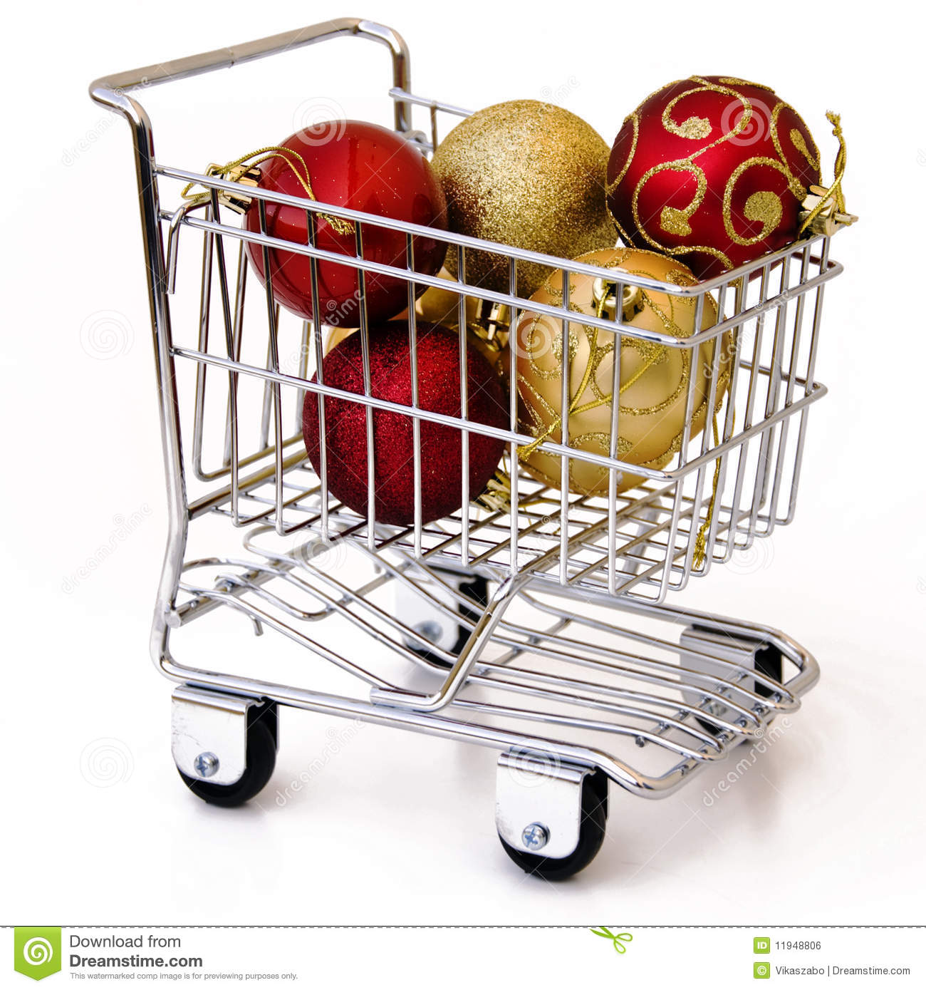 Christmas Tree Ornament In Shopping Cart Royalty Free