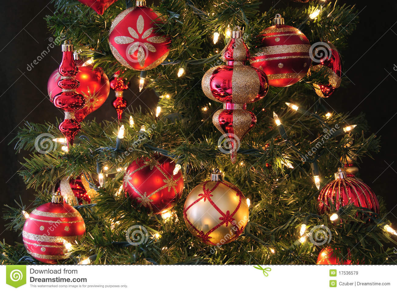 Christmas tree ornaments stock image Image of
