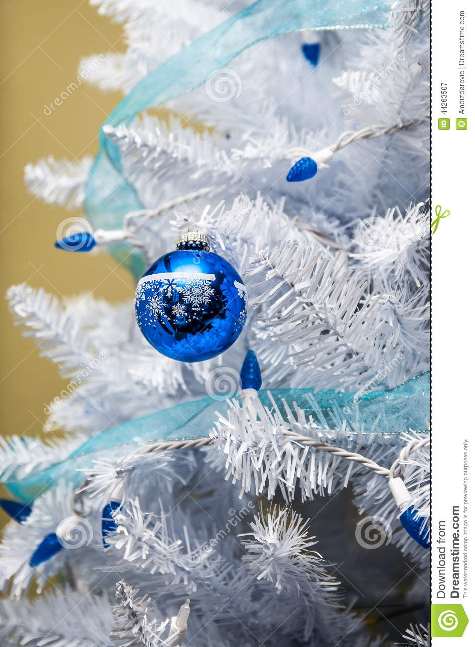 Christmas Tree Ornaments With Blue Lights Stock Image ...