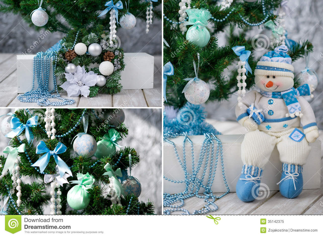 Christmas tree and ornaments in blue and mint royalty free stock photo