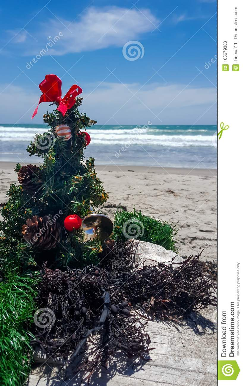 Christmas Tree Ornaments And Decorations At The Beach Stock Image