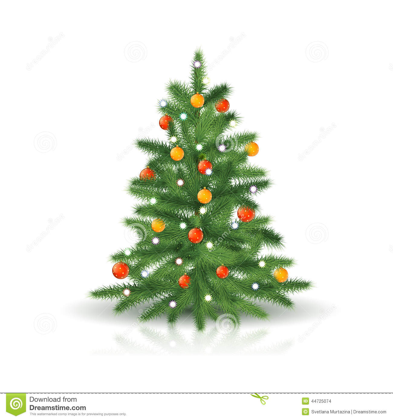 Christmas tree with ornaments and garland stock vector