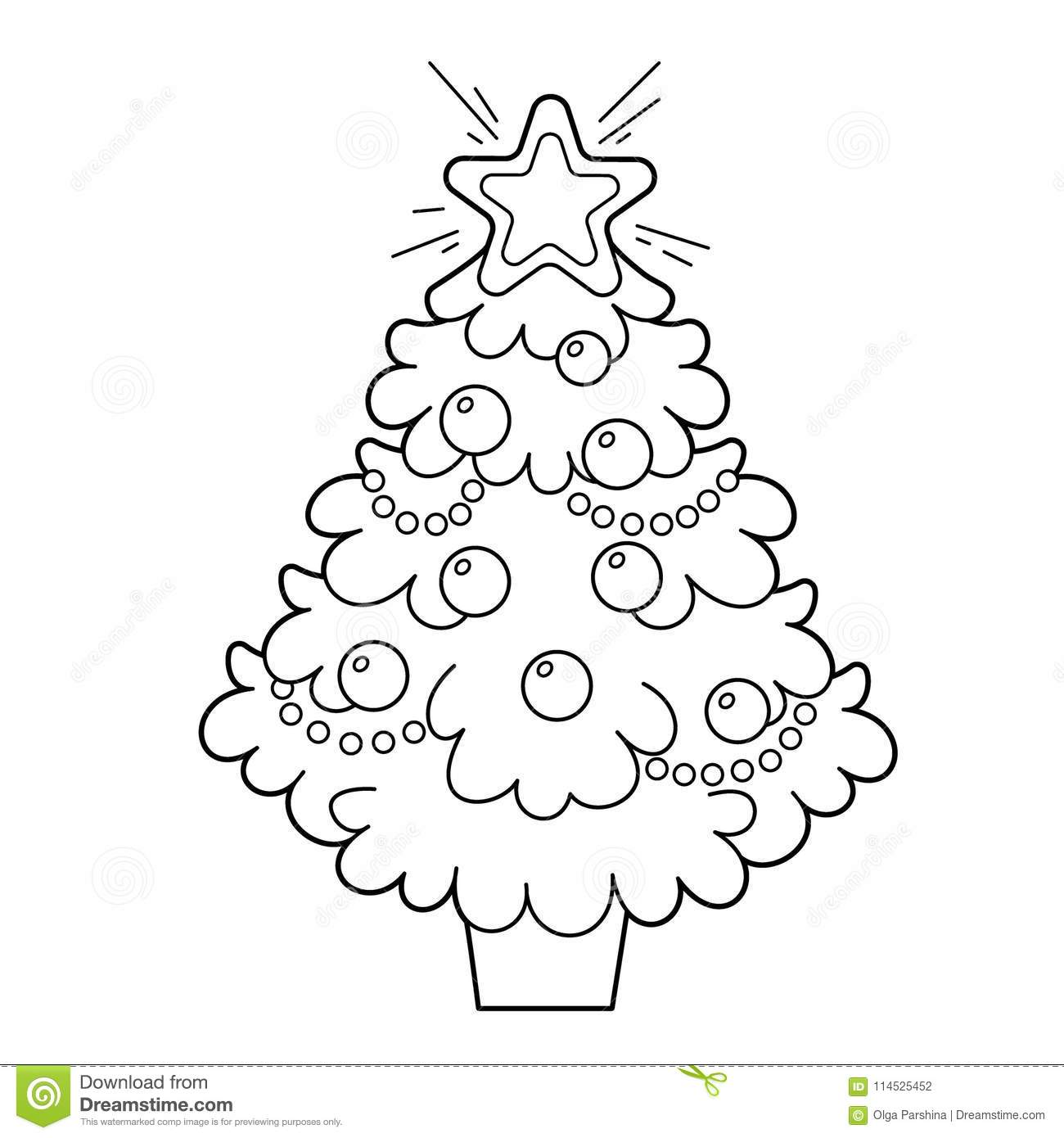 Christmas Tree With Ornaments And Gifts. Christmas. New Year ...