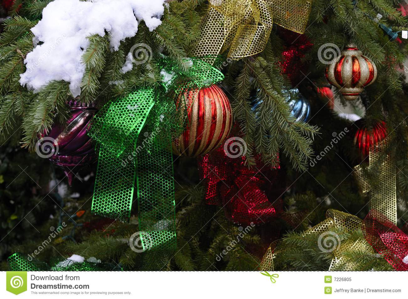 Christmas tree ornaments on outdoor tree royalty free for Outdoor christmas tree ornaments