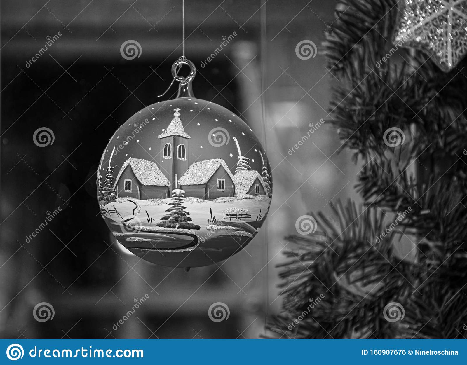 Black And White Photography Of Christmas Ornament Closeup With Blurred Background Beautiful Christmas Ball Stock Photo Image Of Bright Decorative 160907676