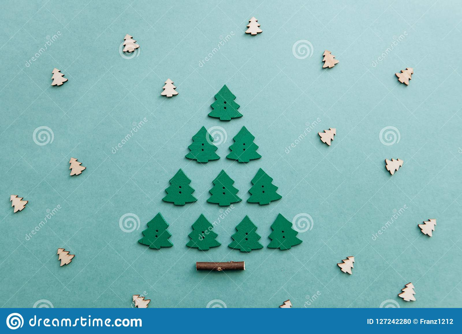 Christmas Tree From Other Small Wooden Christmas Trees Stock Photo Image Of Decoration Celebration 127242280