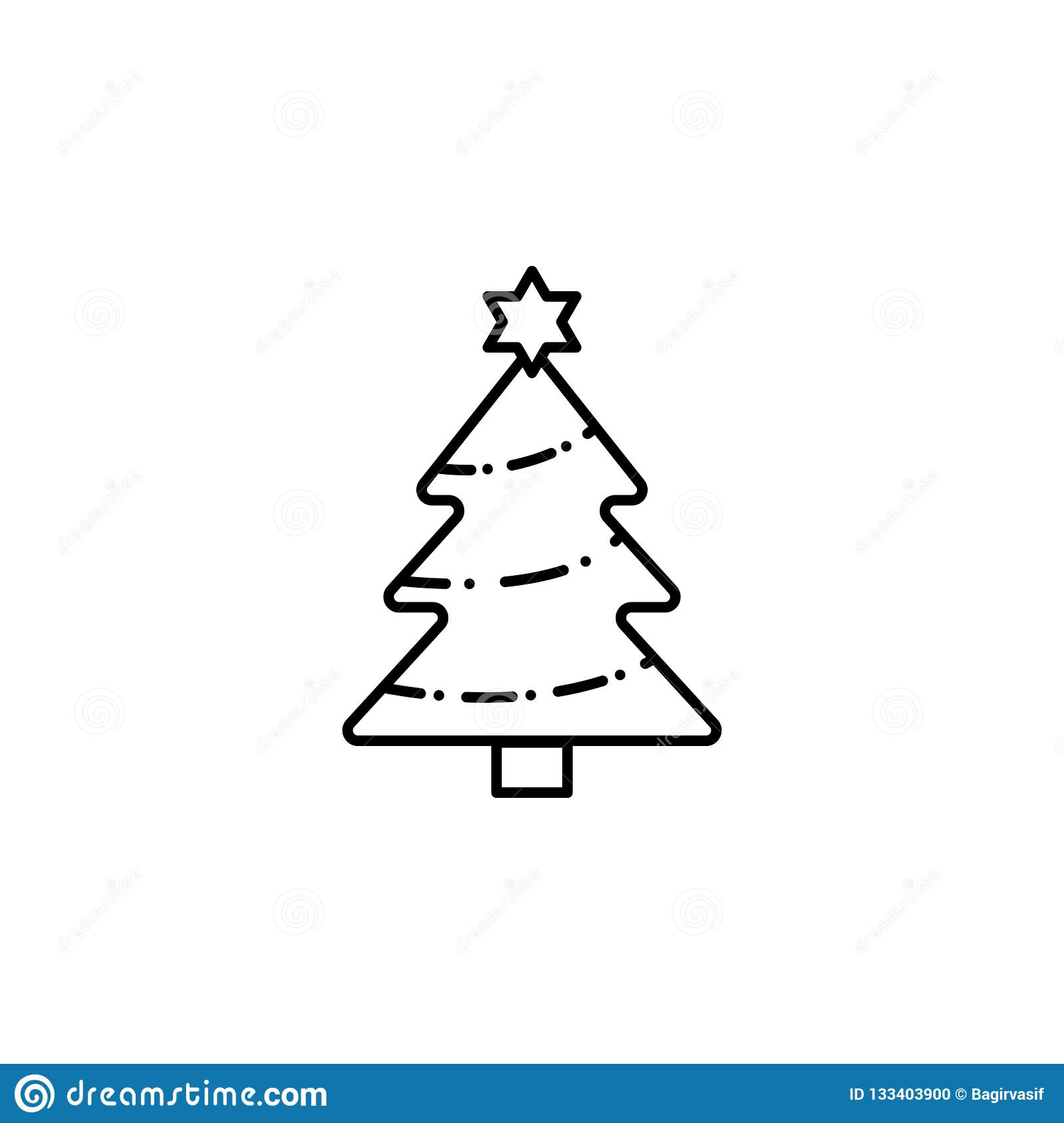 Christmas Tree Outline Icon Can Be Used For Web And Mobile Design