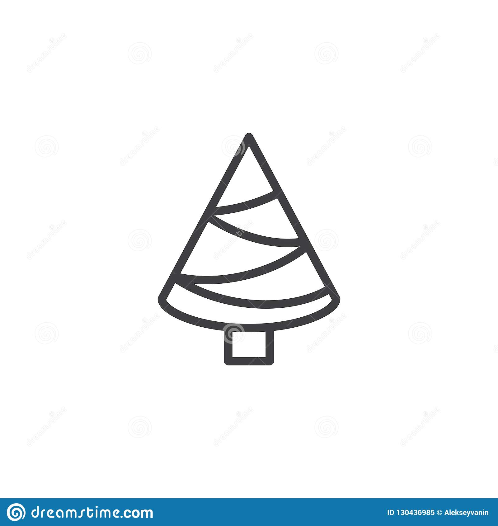 Christmas Tree Outline Icon Stock Vector Illustration Of Single Linear 130436985