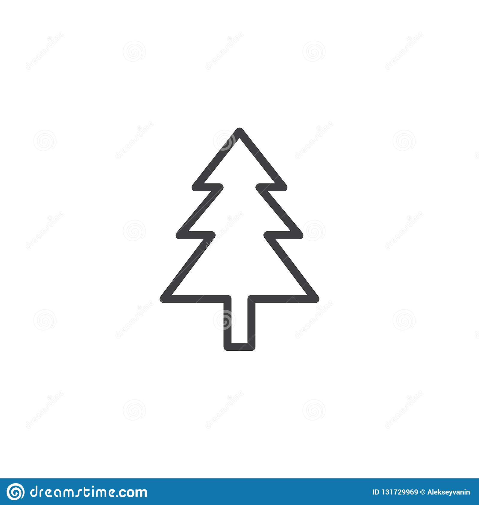 Christmas Tree Outline Icon Stock Vector Illustration Of Pine Outline 131729969