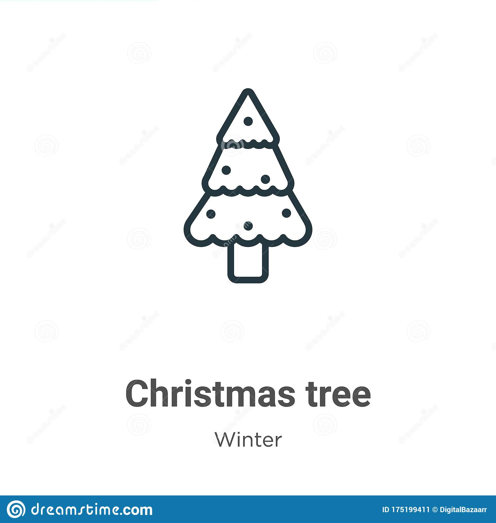 Christmas Tree Outline Vector Icon Thin Line Black Christmas Tree Icon Flat Vector Simple Element Illustration From Editable Stock Vector Illustration Of Greeting Wood 175199411