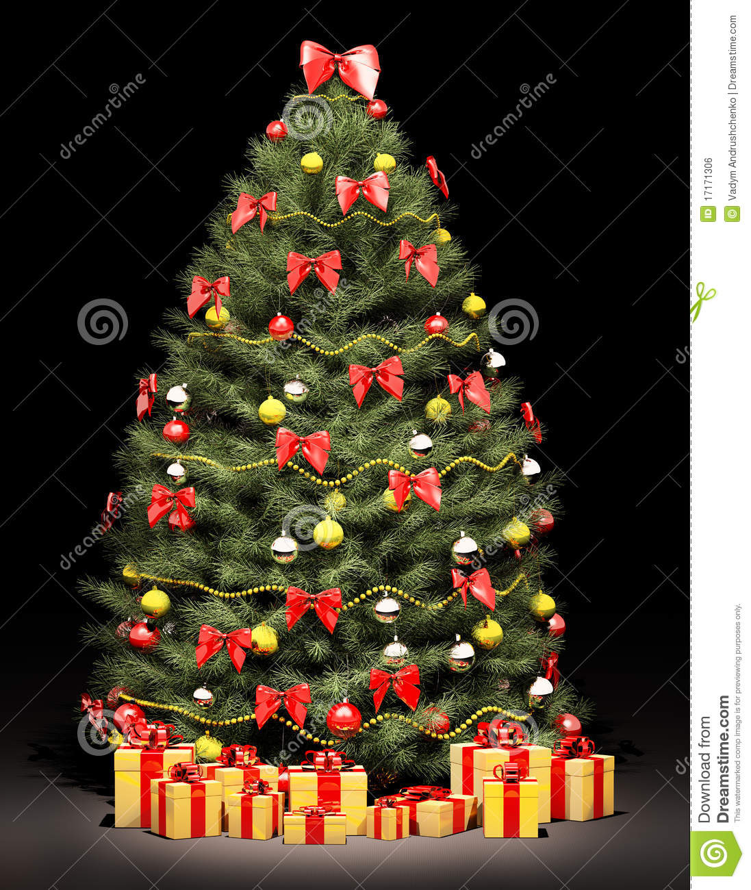 Christmas trees decorated with bows christmas fir tree decorated