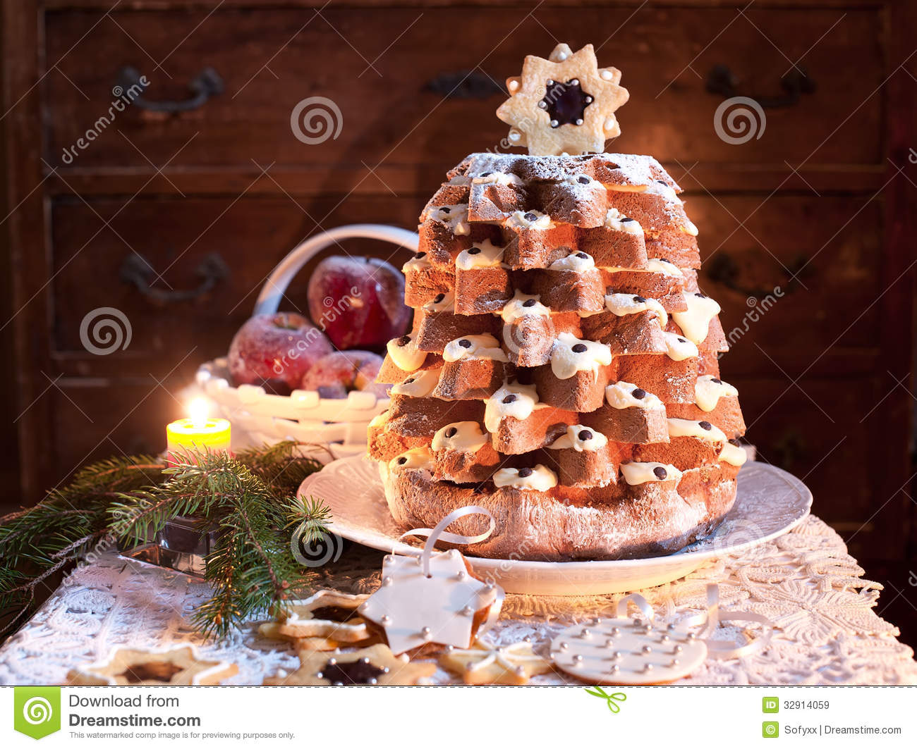 Christmas Tree Pandoro In Christmas Time Stock Image