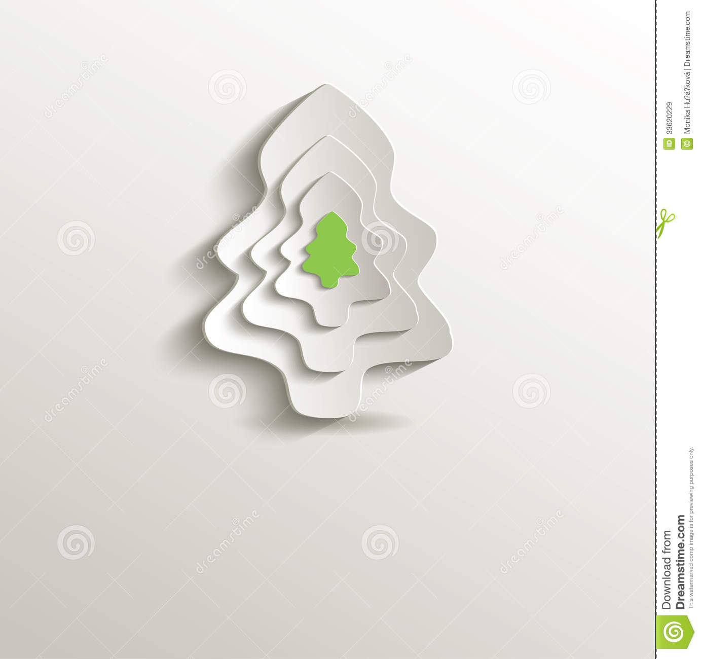3d Paper Christmas Tree Template.Christmas Tree Paper 3d Stock Vector Illustration Of Shape 33620229
