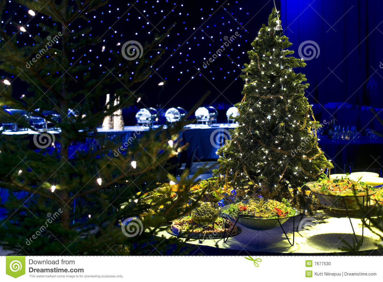 Christmas tree and party food