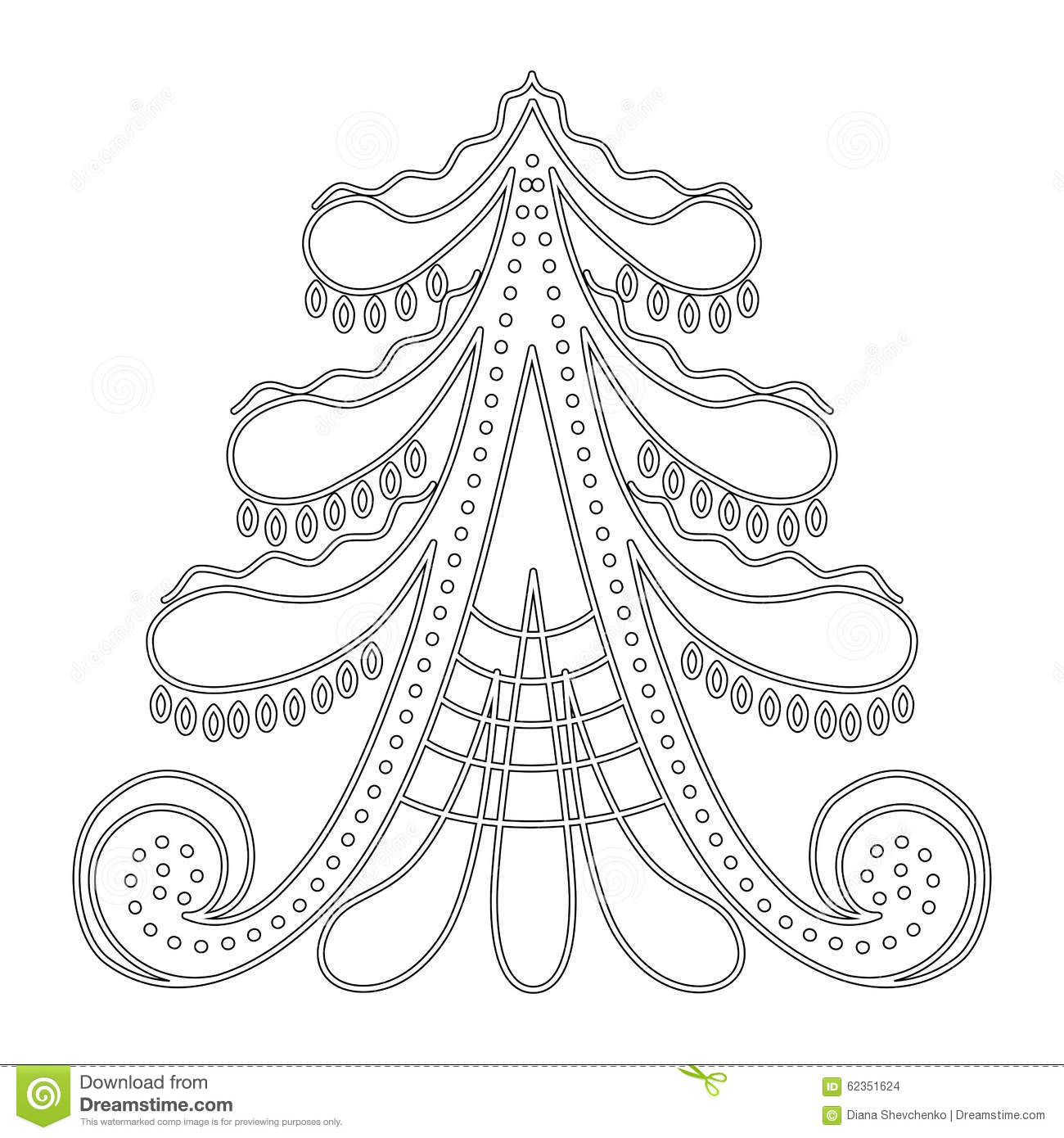 Christmas Tree Pattern For Coloring Book Stock Photography