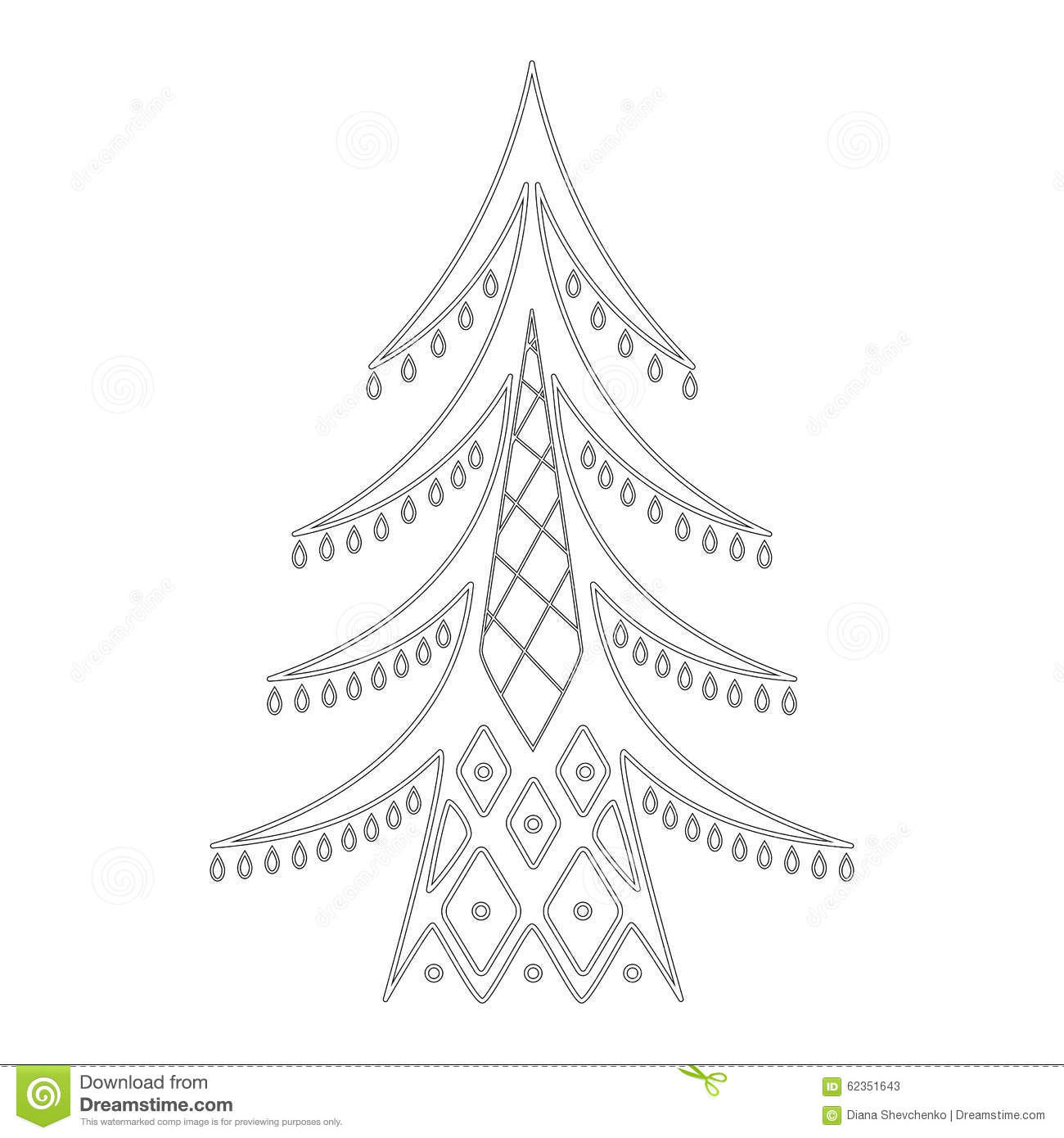 Download Christmas Tree Pattern For Coloring Book Stock Illustration