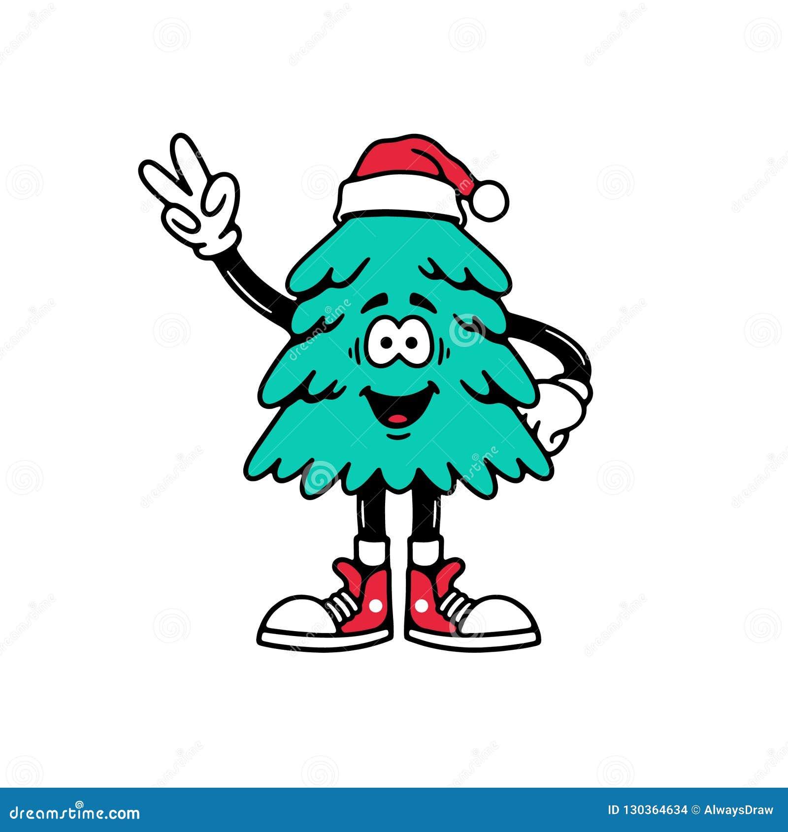 Peace Christmas Sign.Christmas Tree With Peace Sign Cartoon Stock Vector