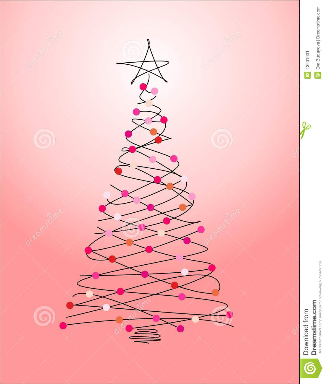 Download Christmas Tree On A Pink Background Stock Illustration