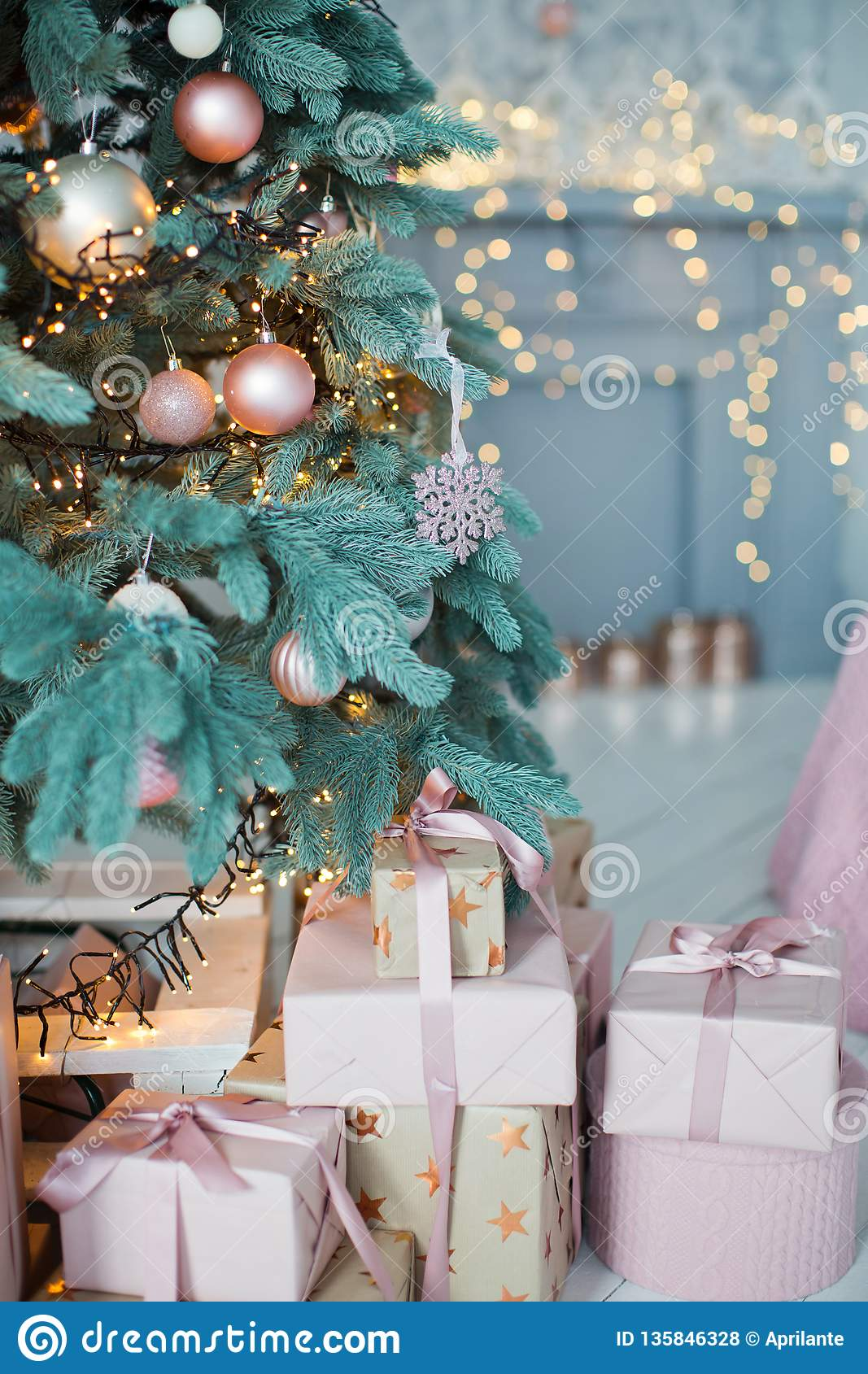 Christmas Tree With Pink And Gold Decorations Stock Photo Image Of Frost Fairy 135846328