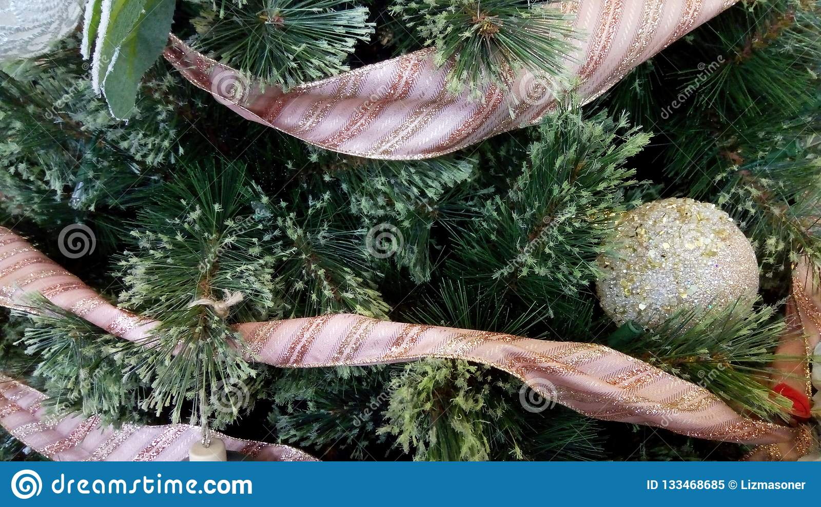 Christmas Tree With Pink Ribbon And Rose Gold Ornament Stock Image Image Of Rose Tree 133468685
