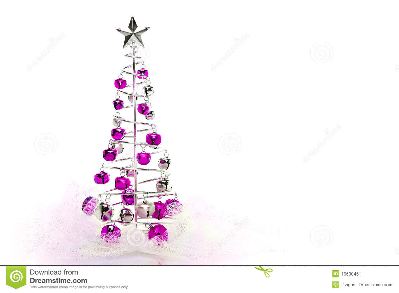Christmas Tree Of Pink And Silver Jingle Bells Stock Image - Image of ornament, hanging: 16600461