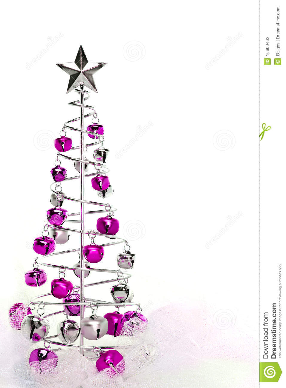 christmas tree of pink and silver jingle bells stock photography