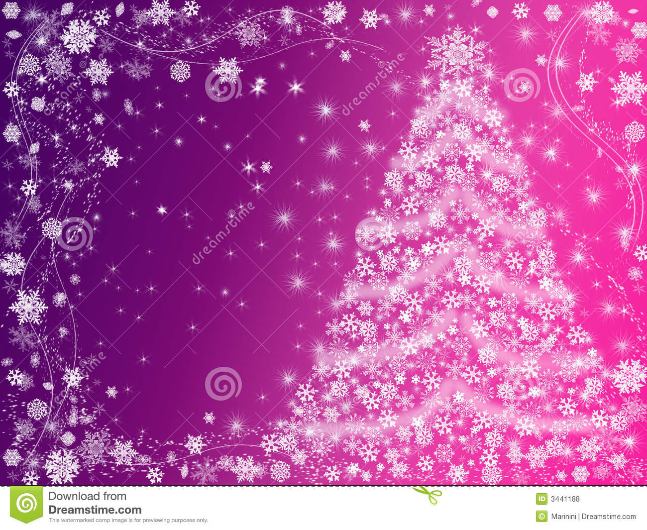 Christmas Tree Drawn By White Snowflakes Over Pink And Violet Background