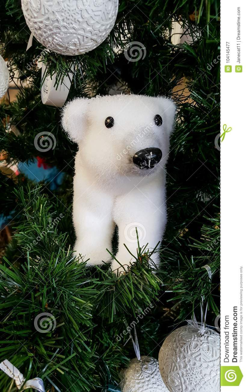 Christmas Tree With A Polar Bear Ornament Stock Image Image Of