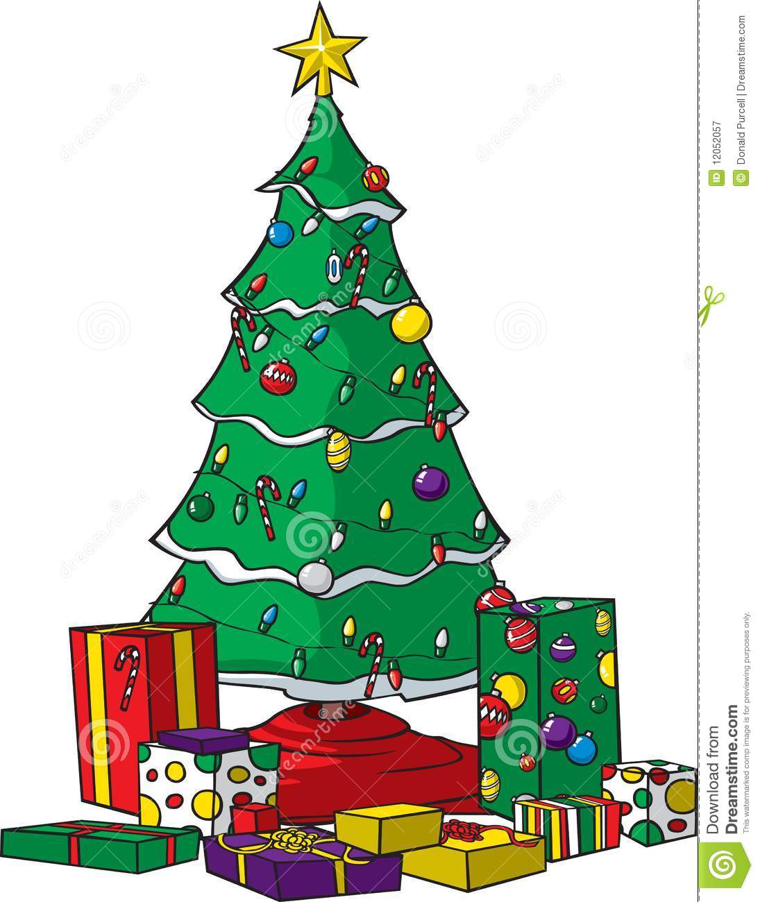 christmas tree with presents stock vector - illustration of deck