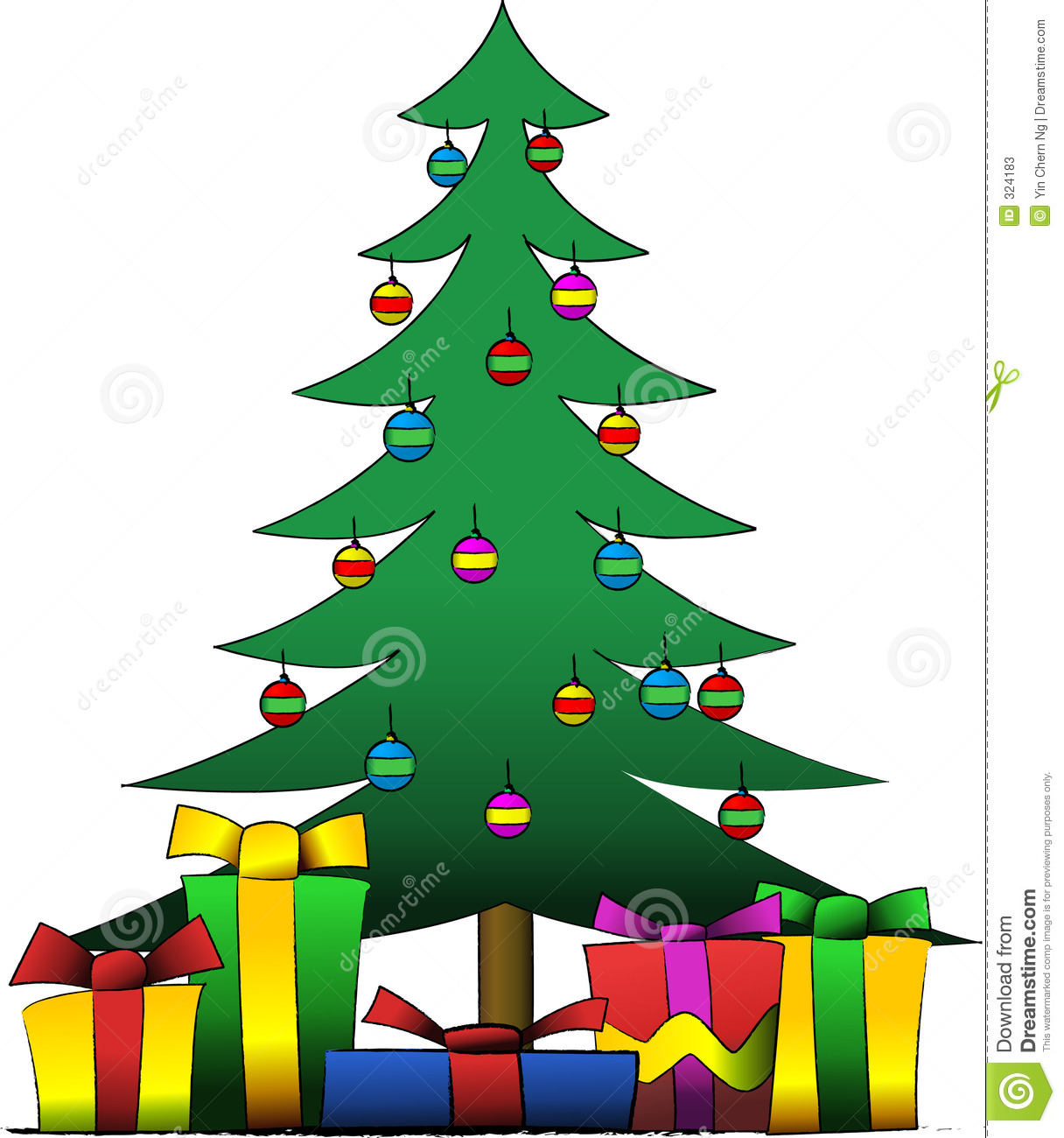 Presents Under The Christmas Tree: Christmas Tree And Presents Stock Vector