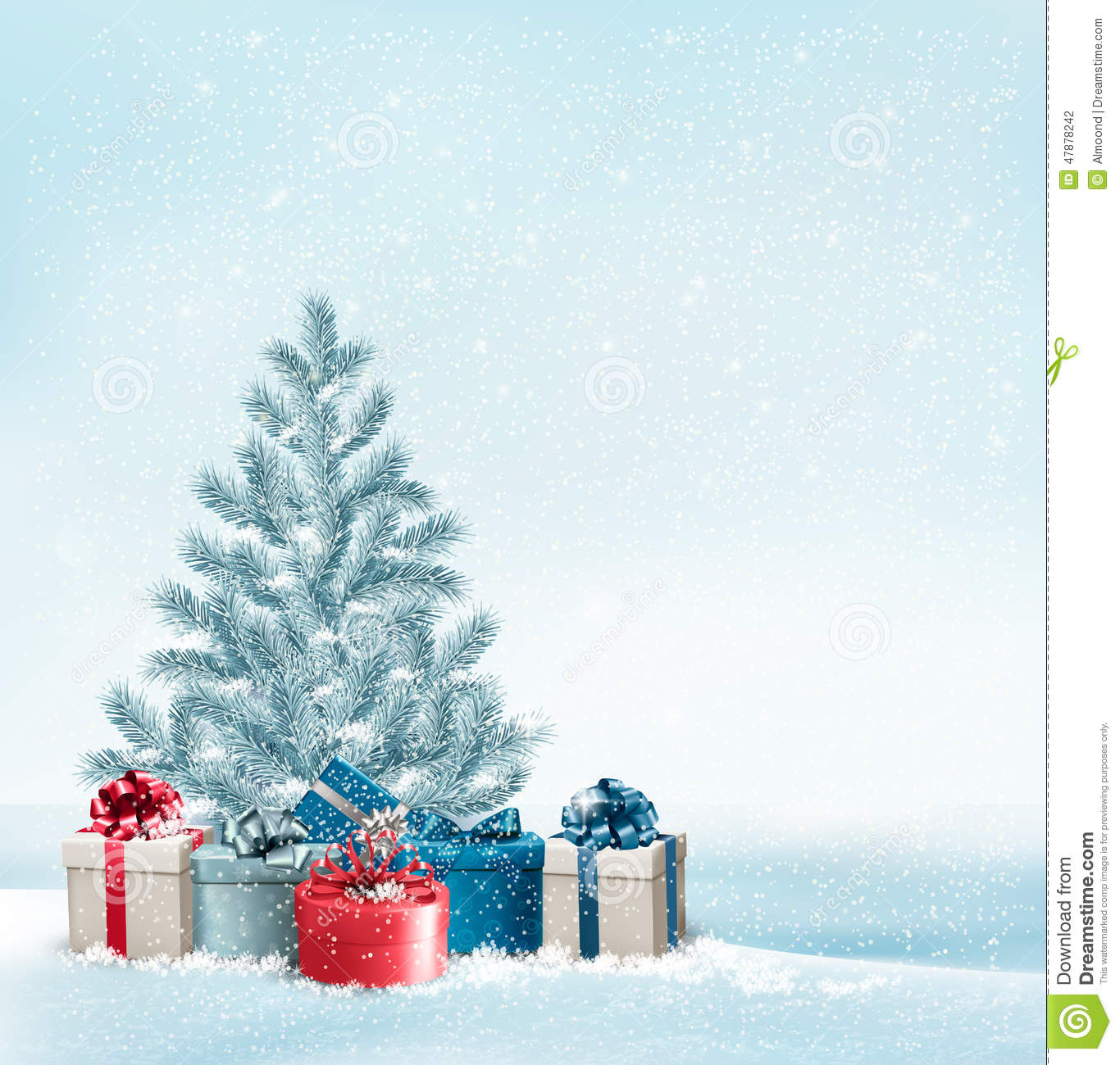 Picture Of Christmas Tree With Presents: Christmas Tree With Presents Background. Stock Vector
