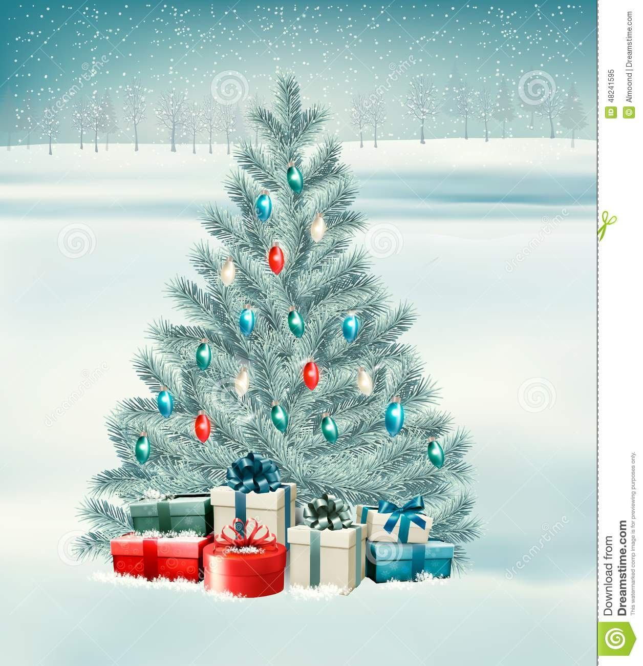 Christmas Tree With Presents Background Stock Illustration