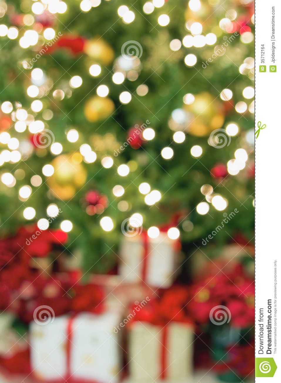 Christmas Tree With Presents Blurred Background Stock ...