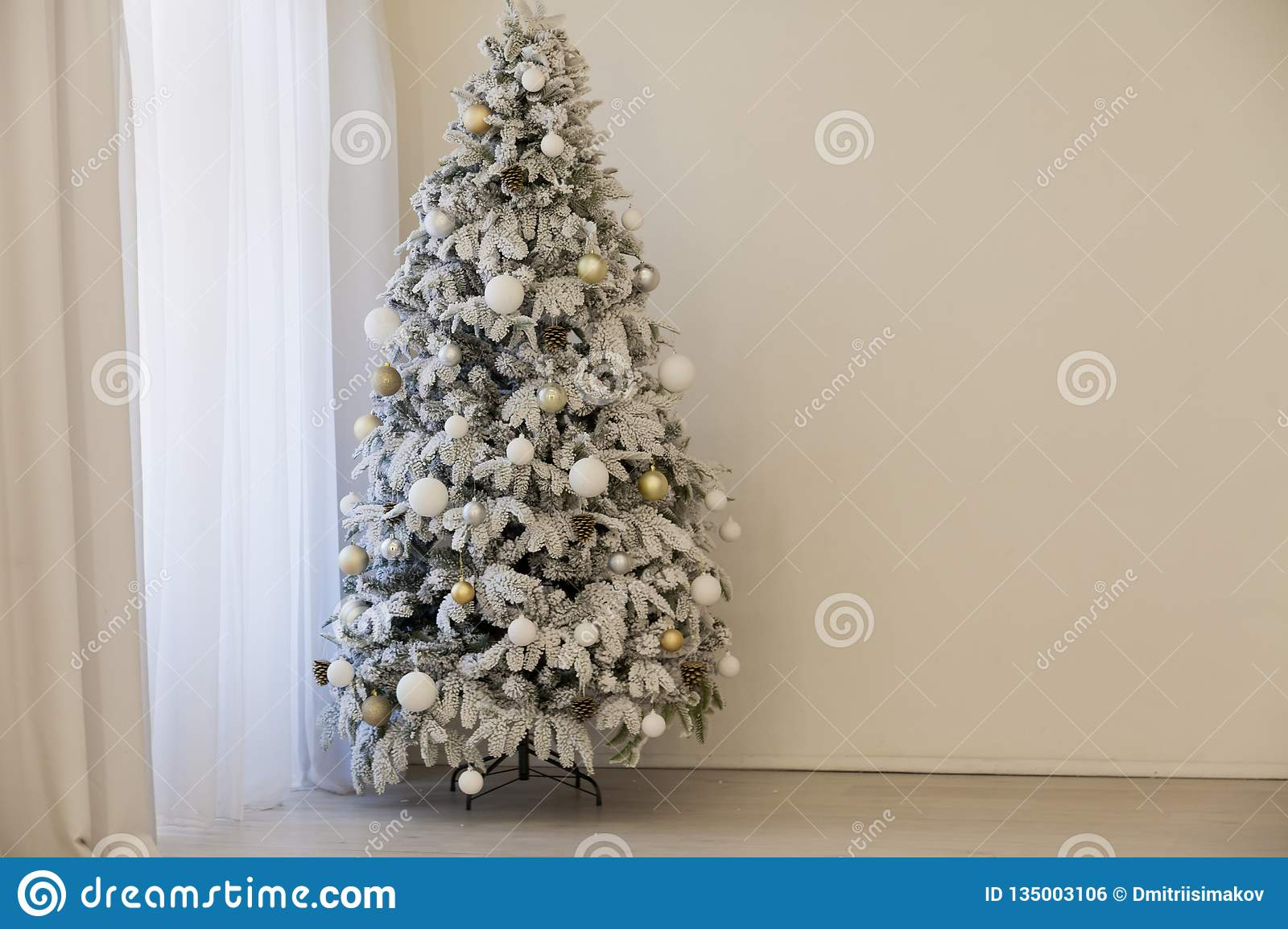 Christmas Tree With Presents, Garland Lights New Year Stock